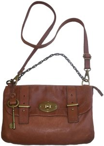 Fossil Flap Chain Leather Pocket Turnlock Cross Body Bag