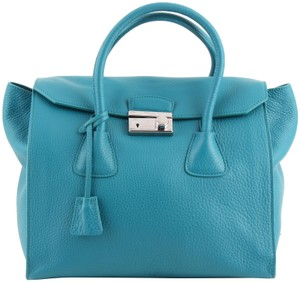 Prada Large Pebbled Leather Tote in Blue