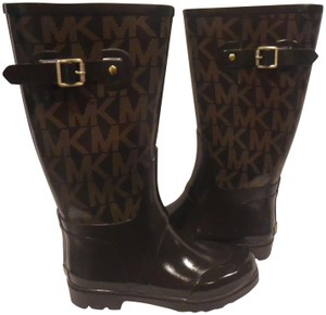 Michael Kors Rain Jacquard Rubber Brown Boots