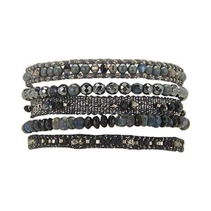 Chan Luu Chan Luu Black Mix Crystal Multi Pull String Leather Bracelet