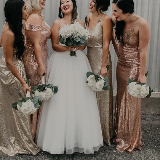 Cowl Back Bridesmaid Dress: Jenny Yoo Gold Sequin Jules Blouson Gown W/ Detachable