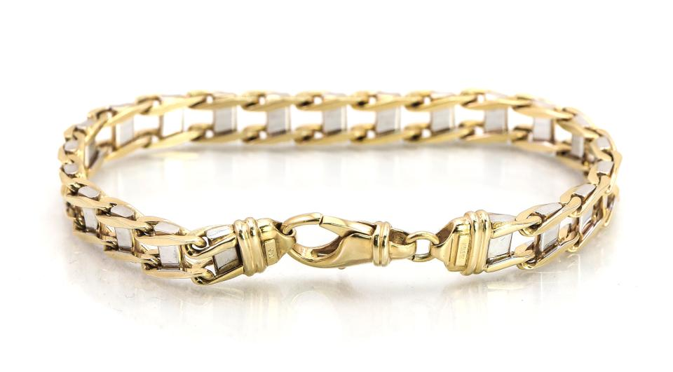 Kay Jewelers Two Tone 10k Gold Flat Chain Ladder Link Bracelet