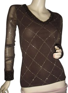 Morgan de Toi Made In Nylon Bodycon Bodyfit Unique Top brown French fabric