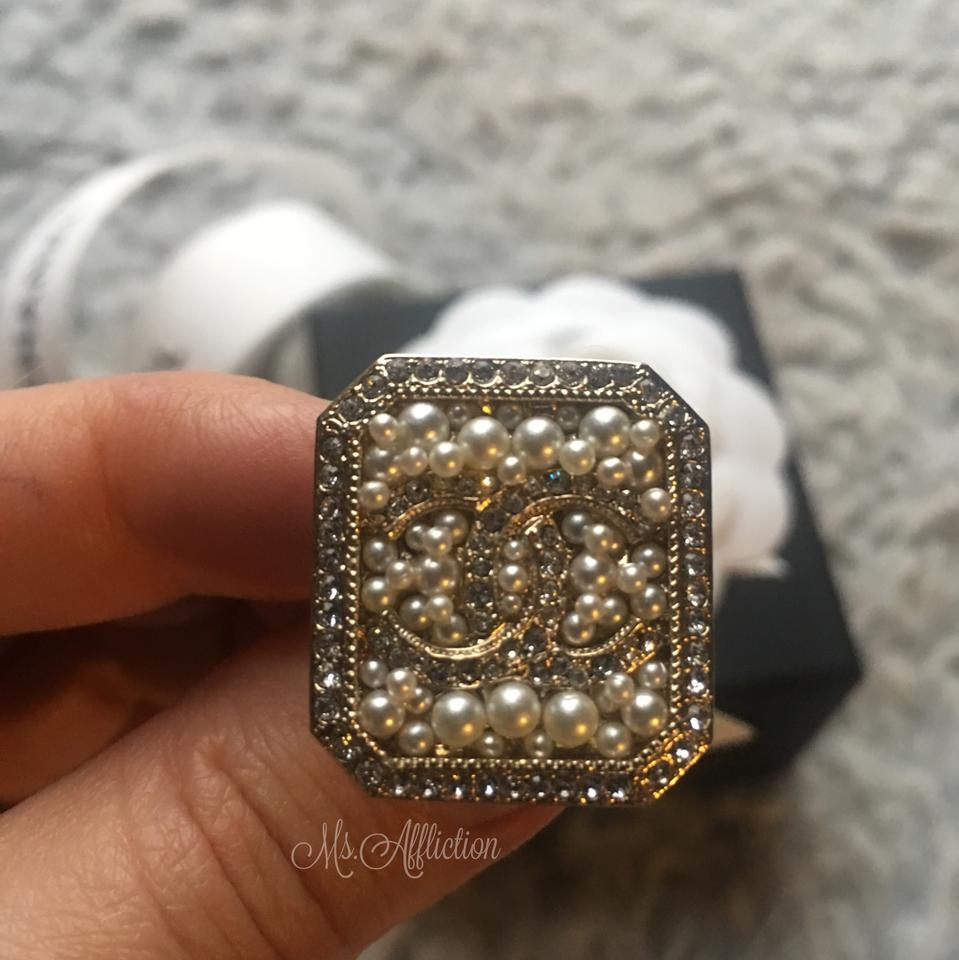 607371cf4af9a1 Chanel CHANEL Pearl Crystal Ring NWT Image 10. 1234567891011