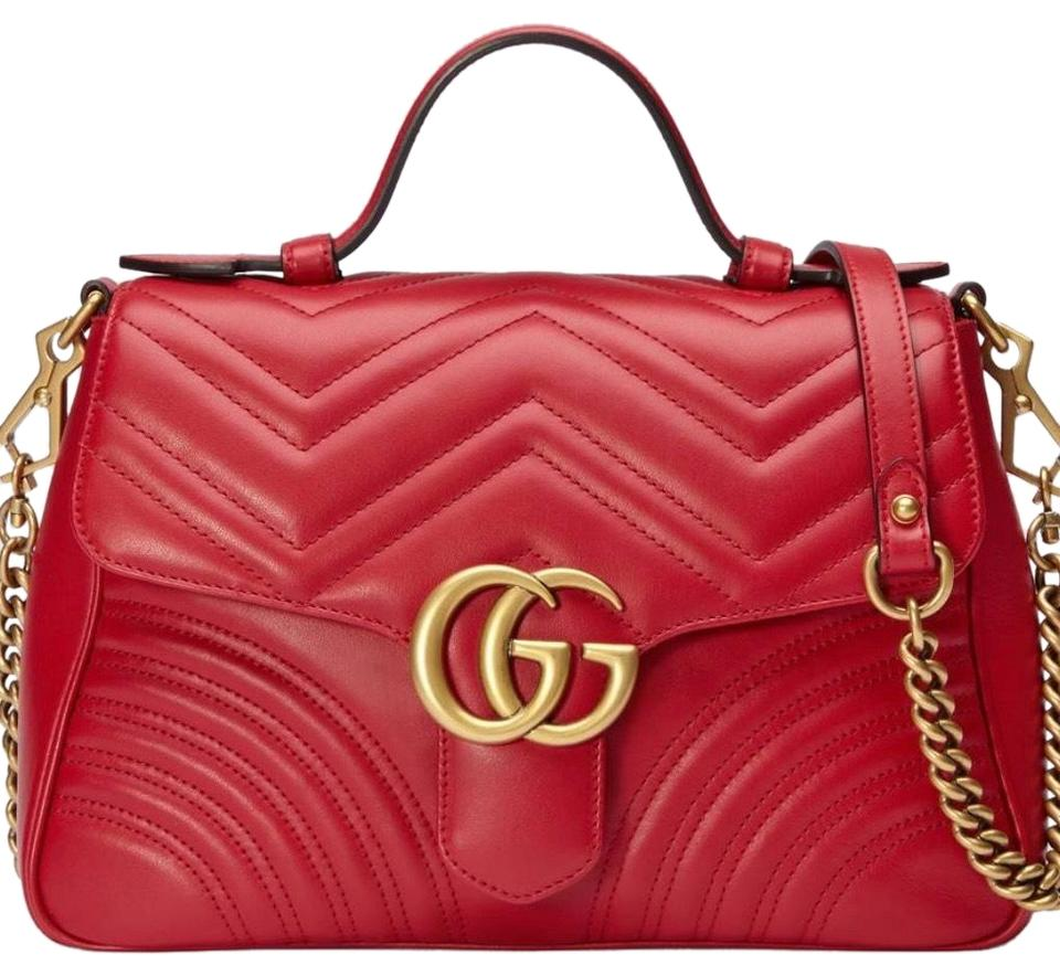 1154118fe23f Gucci Top Handle Bag Marmont Small Red Maltese Chevron Leather with  Microfiber Lining with Suede Like Finish Satchel