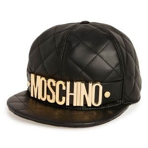 Moschino New Quilted Leather Baseball Cap Hat