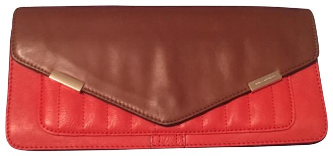 Item - In Orange/Coral Orange/Coral and Brown with Gold Hardware Leather Clutch