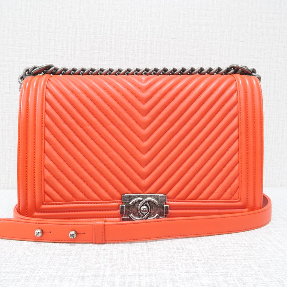 3ca4757d8e05 Chanel Boy Chevron Medium Plus Orange Calfskin Shoulder Bag - Tradesy