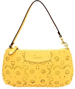 Coach New Laser Cut Leather Floral Baguette Wristlet in Yellow/Gold