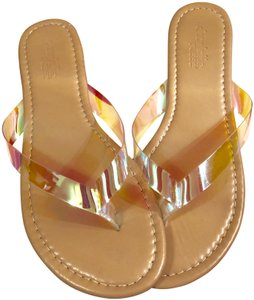 Charlotte Russe Flip Flops Promo Free Pretty ABSOLUTELY FREE-SEE INSIDE-Tan with Clear-Psychedelic Straps Sandals