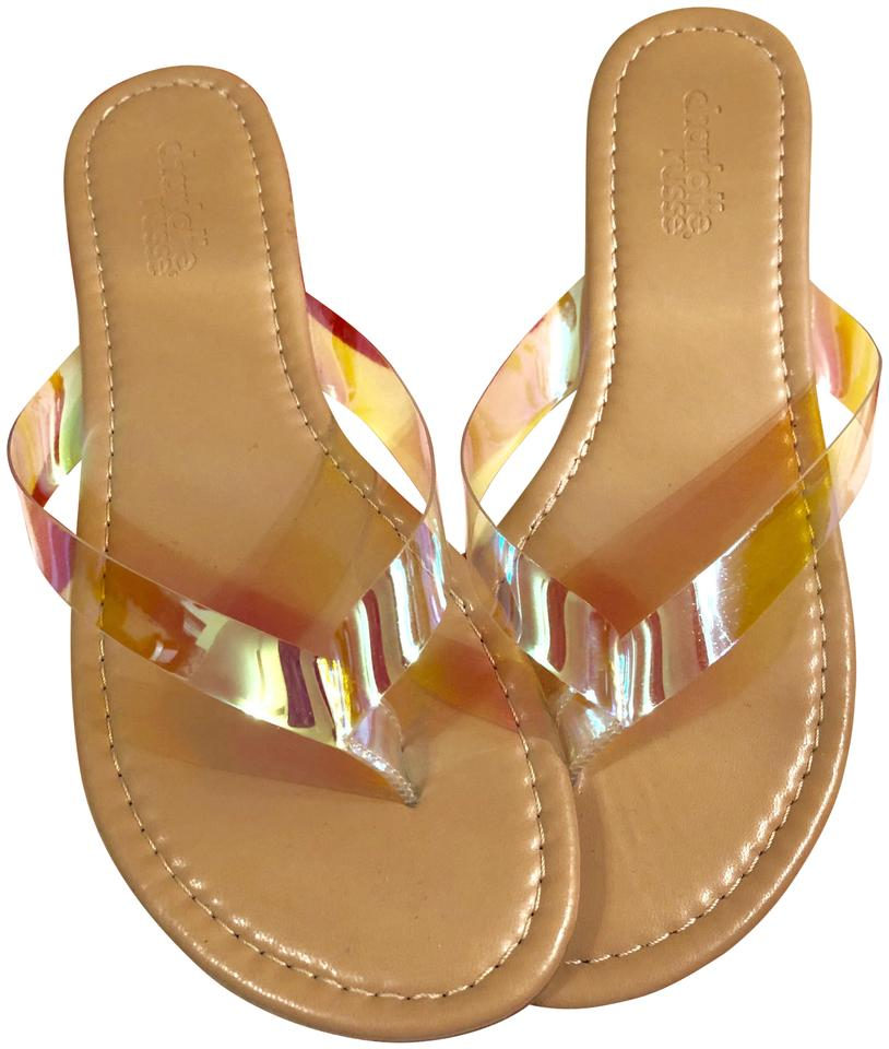 2c5b37610fbf Charlotte Russe Absolutely Free-see Inside-tan with Clear-psychedelic  Straps Supercool Sandals