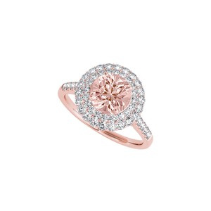 Belly by Design Halo Ring with Morganite and CZ in 14K Rose Gold