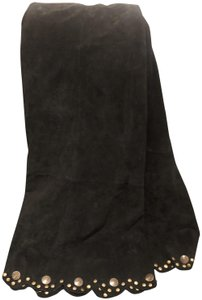 Montana Suede Long And Classy Leather Maxi Skirt Black