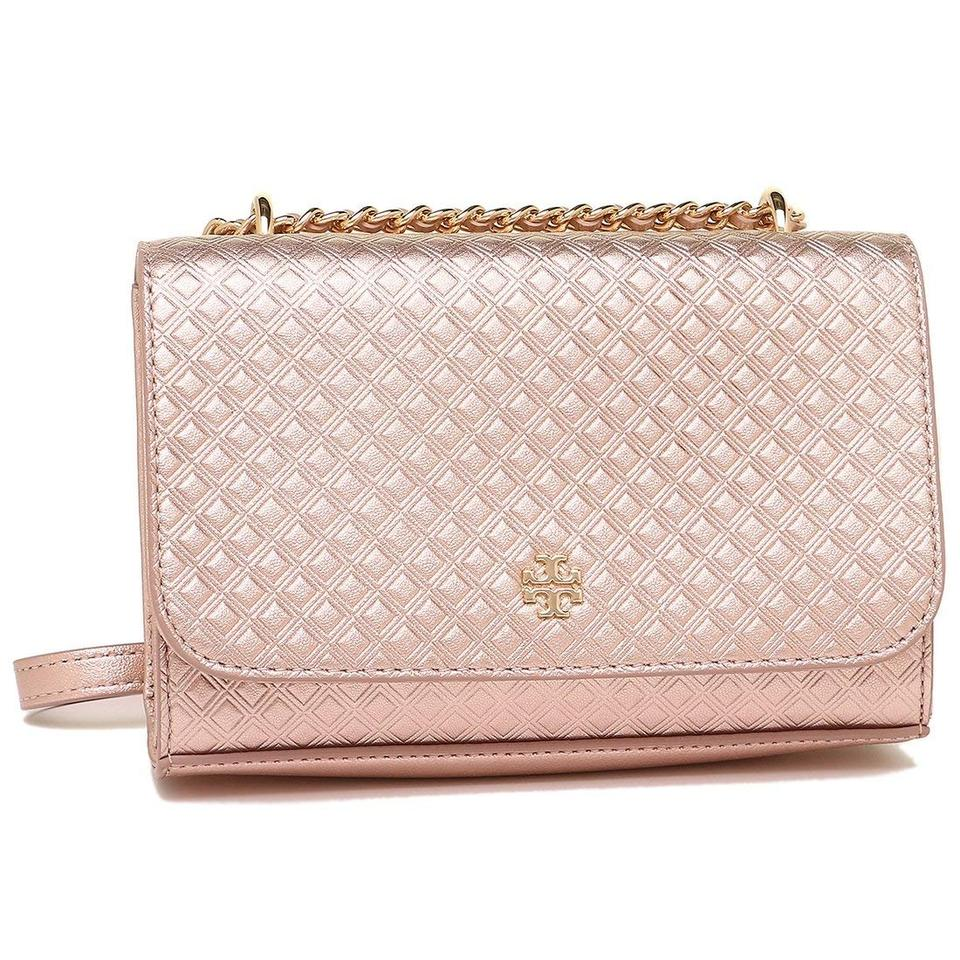 6d0d2a29f166 Tory Burch Marion New Quilted Shoulder Metallic Rose Gold Holiday ...