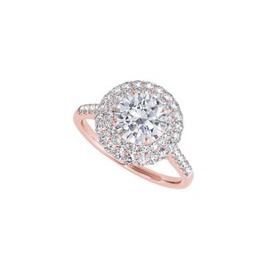DesignerByVeronica Gorgeous Halo Cubic Zirconia Ring in 14K Rose Gold