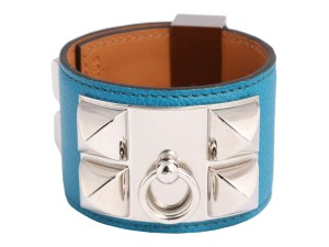 Hermès BLEU IZMIR EPSOM LEATHER COLLIER DE CHIEN CDC BRACELET