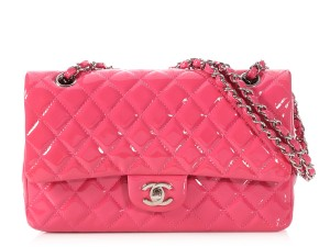 f05c9d8b65bb Chanel Double Flap **cr** Classic Medium / Large Quilted Pink Patent  Leather Shoulder Bag