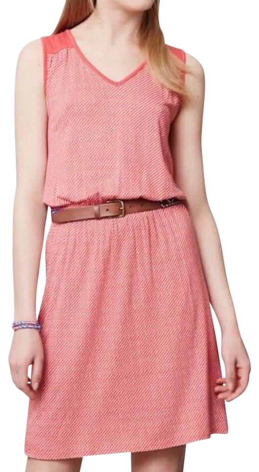 f0a292122e Anthropologie Pink Coral White Sundress Blouson Short Casual Dress ...