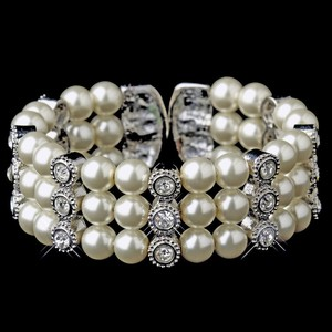 Elegance by Carbonneau Silver Antique Plated Ivory Pearl Rhinestone Cuff Bracelet