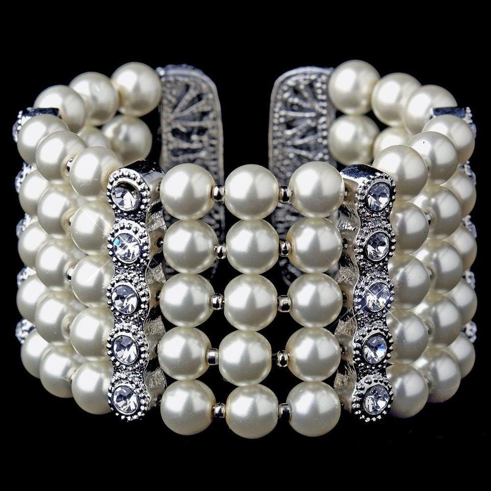 Elegance By Carbonneau Silver Antique Row White Pearl Rhinestone Cuff Bracelet