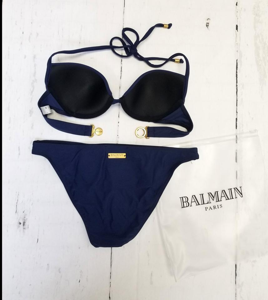 a6108cdce0 Balmain Navy Blue New Women Push-up Underwire Two Piece Embellished ...