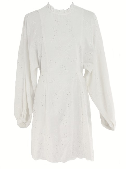 Item - White Eva Balloon Sleeve Short Casual Dress Size 2 (XS)