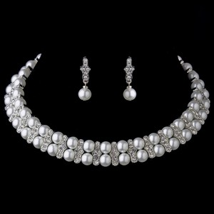 Elegance by Carbonneau Silver Pearl Coil Necklace Earrings Choker Necklace Jewelry Set