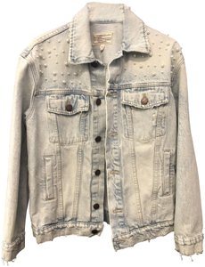 Current/Elliott #pearls Light Wash Denim Womens Jean Jacket