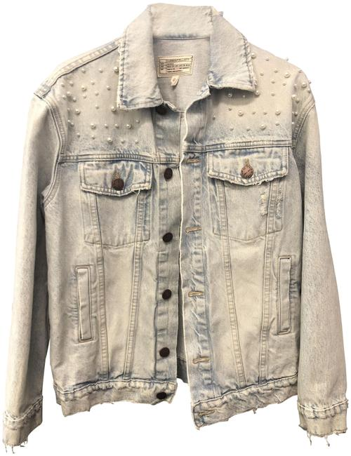 Current/Elliott #pearls Light Wash Denim Womens Jean Jacket Image 0