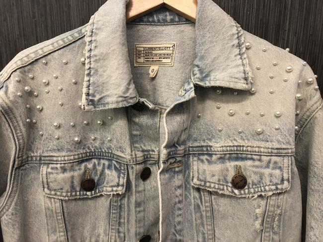 Current/Elliott #pearls Light Wash Denim Womens Jean Jacket Image 2