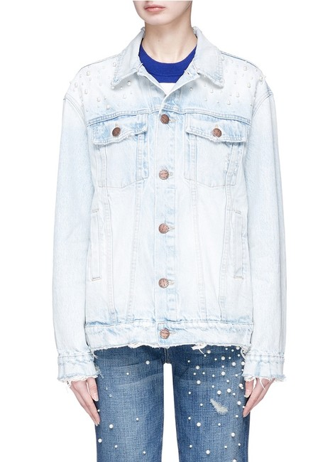 Current/Elliott #pearls Light Wash Denim Womens Jean Jacket Image 7