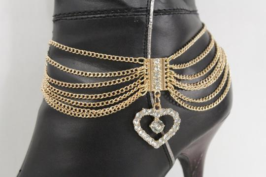 Alwaystyle4you Women Gold Boot Metal Chain Big Silver Heart Anklet Shoe Bling Charm