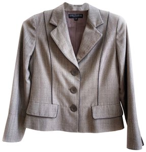 Lafayette 148 New York Jacket Plaid Wool Brown Tan Blazer
