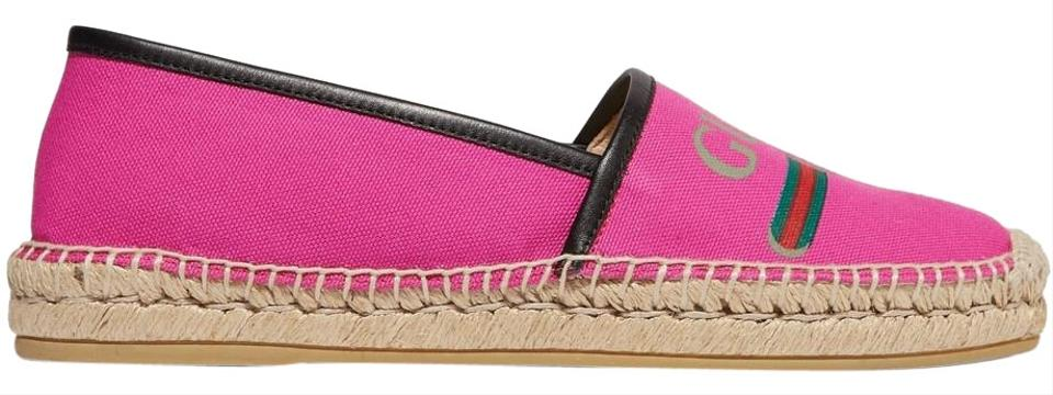 41bcc01ecfd Gucci Pink Pilar Leather-trimmed Logo-print Canvas Espadrilles It39 ...