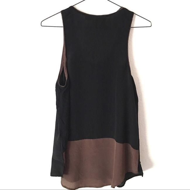 Maeve Silk Sleeveless Blouse Top lack, brown trim detail with a brown panel on the back
