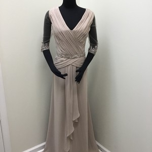 Mori Lee Latte Chiffon 71514 Formal Bridesmaid/Mob Dress Size 14 (L)