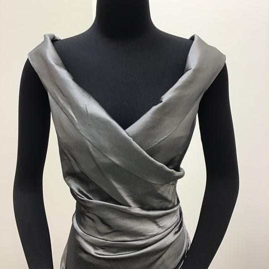 Teri Jon Pewter Satin 49096 Formal Bridesmaid/Mob Dress Size 12 (L)