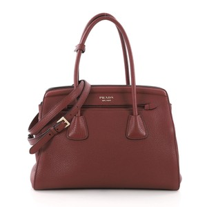 Prada Leather Tote in red
