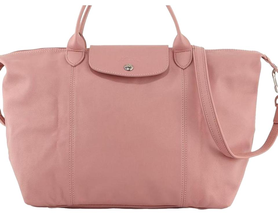 how to buy look good shoes sale amazing price Longchamp Pliage Cuir Medium Handbag with Strap Girl Pink Leather Cross  Body Bag 26% off retail