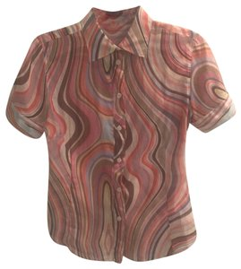 Paul Smith Black Label Sheer Top multi colored swirl pattern