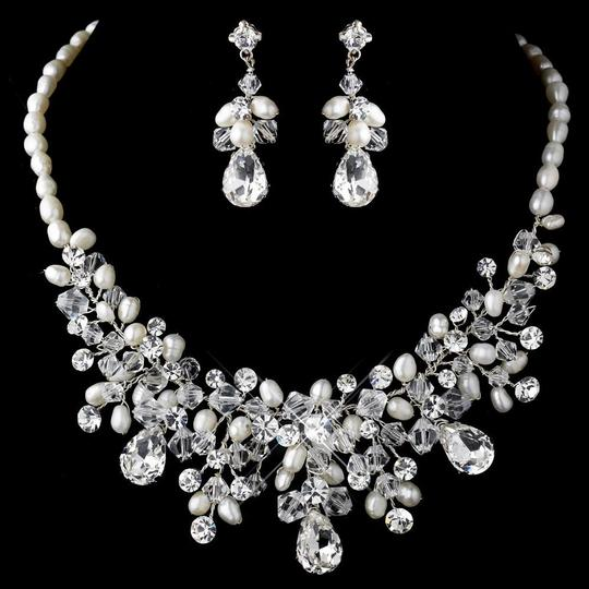 Elegance by Carbonneau Silver Freshwater Pearl Crystal Bead and Rhinestone Jewelry Set