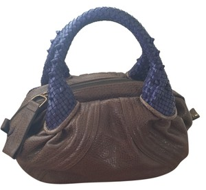 Fendi Satchel in Taupe With Purple Handles