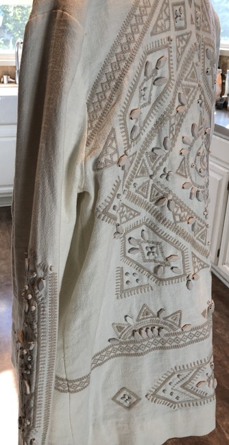 Free People Linen Beaded Cream with Tan Embroidery and Beads Jacket