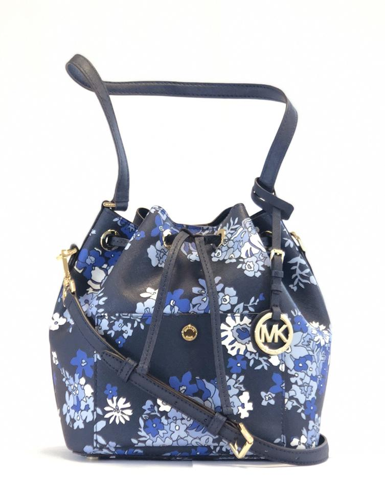 6657bf24c524 Michael Kors Bucket Bag Greenwich New Medium Navy Floral Blue Leather Tote