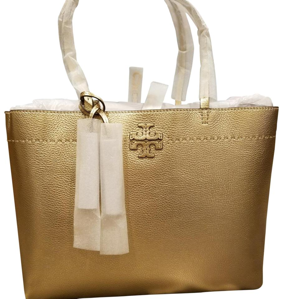 a6fcd57b1589 Tory Burch Mcgraw Metallic Gold Pebbled Leather Tote - Tradesy