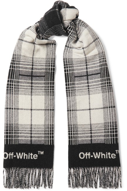Item - Fringed Checked Wool-blend Scarf/Wrap