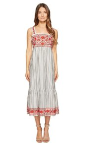 Grey and White Stripes Red Detailing Maxi Dress by Kate Spade Broome Street Midi Sleeveless