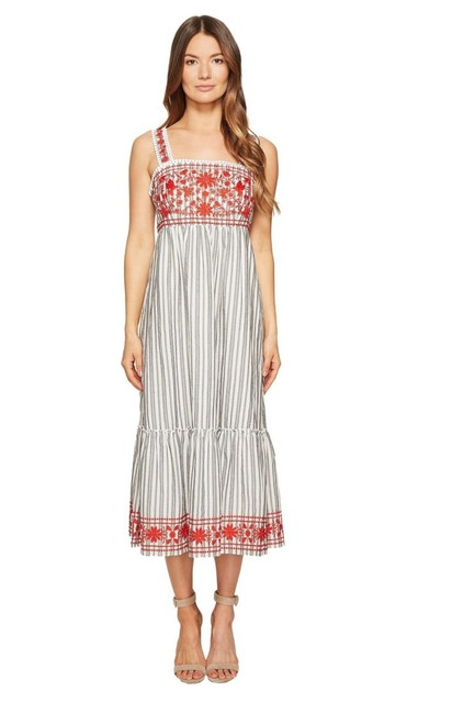 Item - Grey and White Stripes Red Detailing Broome Street New York Embroidered Midi Mid-length Casual Maxi Dress Size 2 (XS)