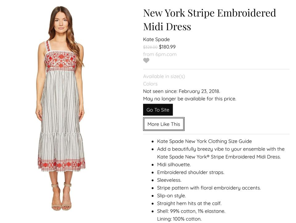 adcff58f5a6 Kate Spade Grey and White Stripes Red Detailing Broome Street New York  Embroidered Midi Casual Maxi Dress