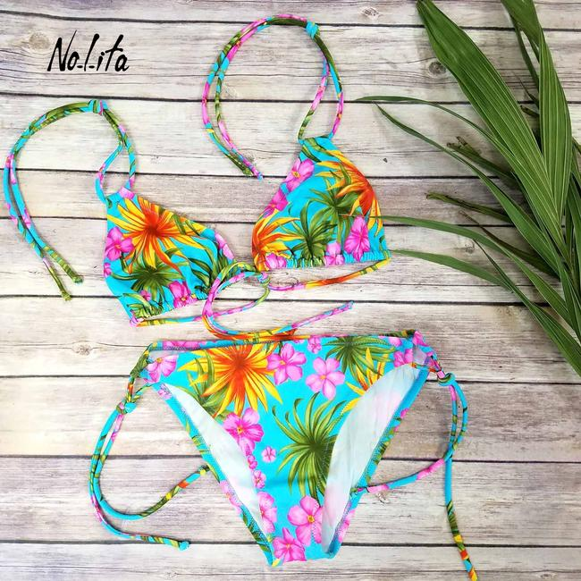 Nolita Italy New Women Hawaiian Print 2 Piece Non-Padded Triangle Bikini Swimsuit